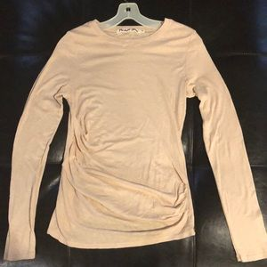 Michael Stars long sleeve side ruched slub - blush